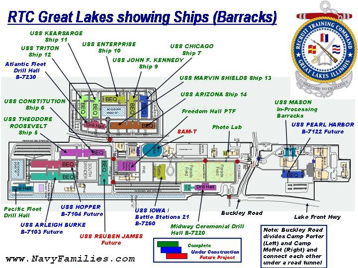 Maps of Navy Bootcamp Great Lakes Ships and Area  NavyDEP